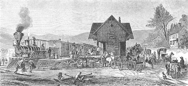 Estação de caminhos de ferro no secúlo XIX.