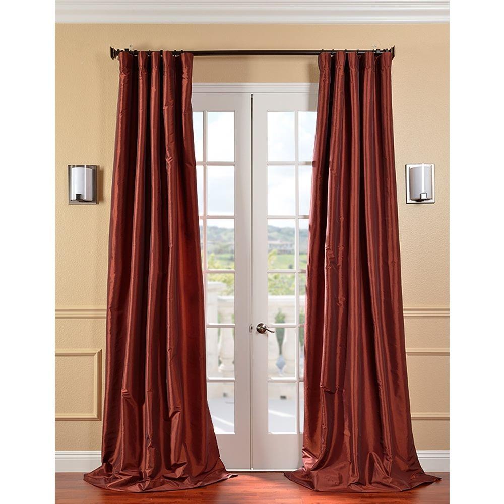 Exclusive fabrics paprika faux silk taffeta 120 inch for 120 inch window sheers