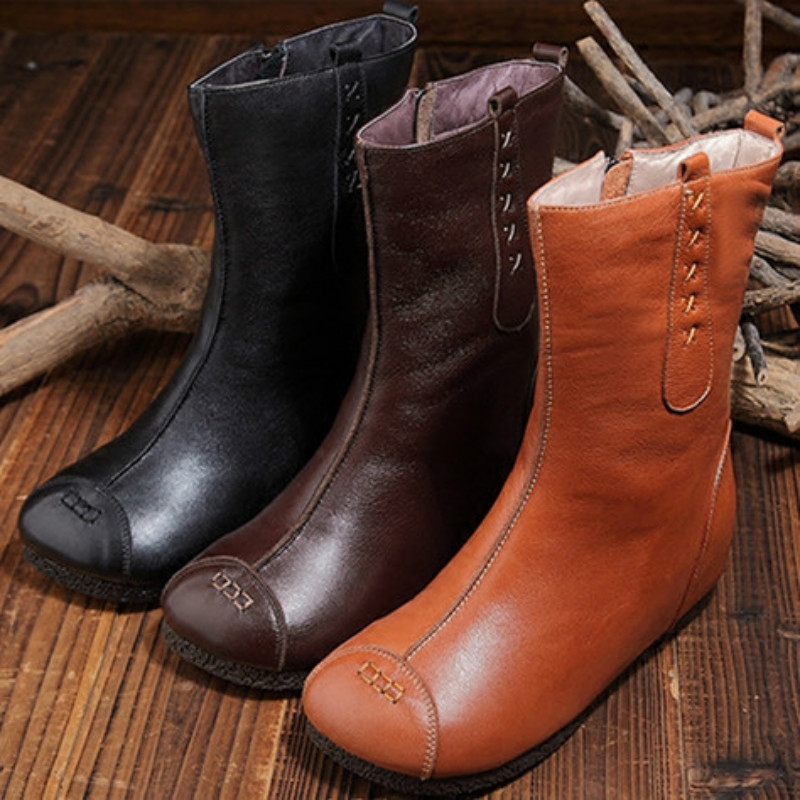 120.00$  Buy here - http://ali79r.worldwells.pw/go.php?t=32776547736 - Winter Handmade Full Genuine Leather Comfortable Height Increasing Round Toe Thermal Plush Boots