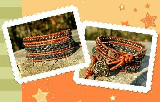 Triple wrap leather beaded bracelet