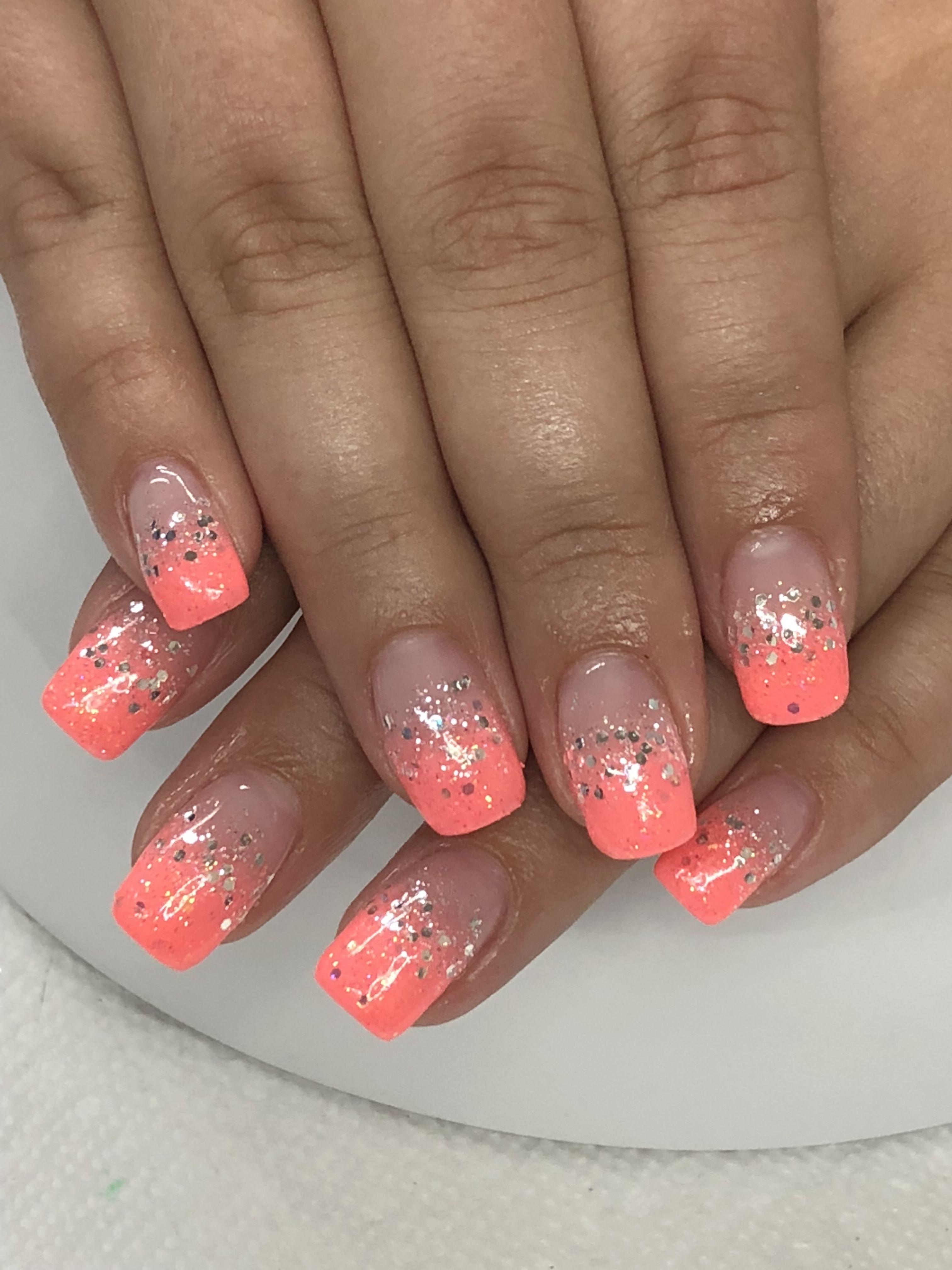 Summer Coral Ombre Glitter Gel Nails Light Elegance Tailgator Ice