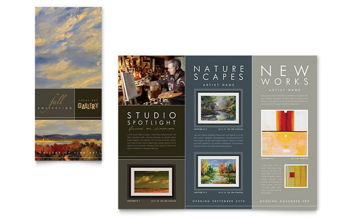 Art Gallery and Artist Tri Fold Brochure Template Design by     Art Gallery and Artist Tri Fold Brochure Template Design by StockLayouts