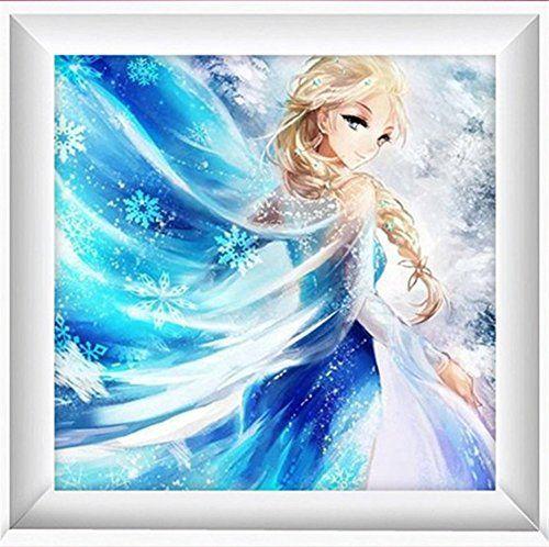 Diy 5d Diamond Painting Set Frozen Princess Diamond Square Diamond Home Decor Cartoon Embroidery Set Wedding Decorations Elsa Anime Disney Elsa Disney Art