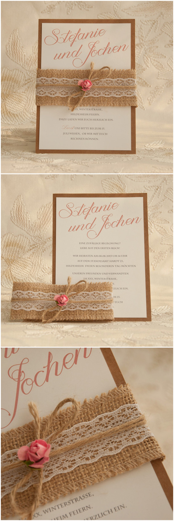 Romantische Boho Hochzeit Einladungskarte Mit Rose Und Jute Band