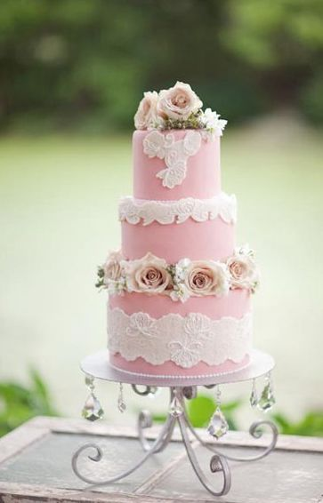 Chic three tier pink wedding cake with white lace detail; Featured Photographer: Greer Gattuso Photography