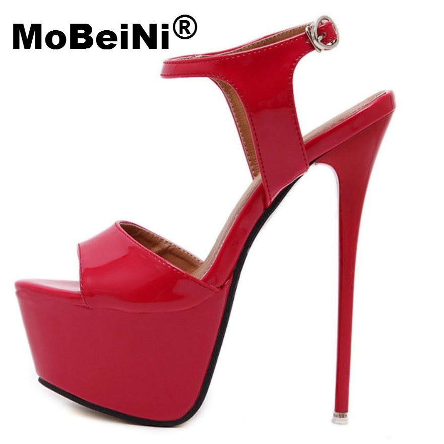 23.79$  Watch here - http://alik27.shopchina.info/1/go.php?t=32780099338 - MoBeiNi Fetish Clubwear Party Shoes Ultray Extremely Very High Heel Strapy buckles Platform Sandals Stiletto Ankle Strap Pumps  #SHOPPING