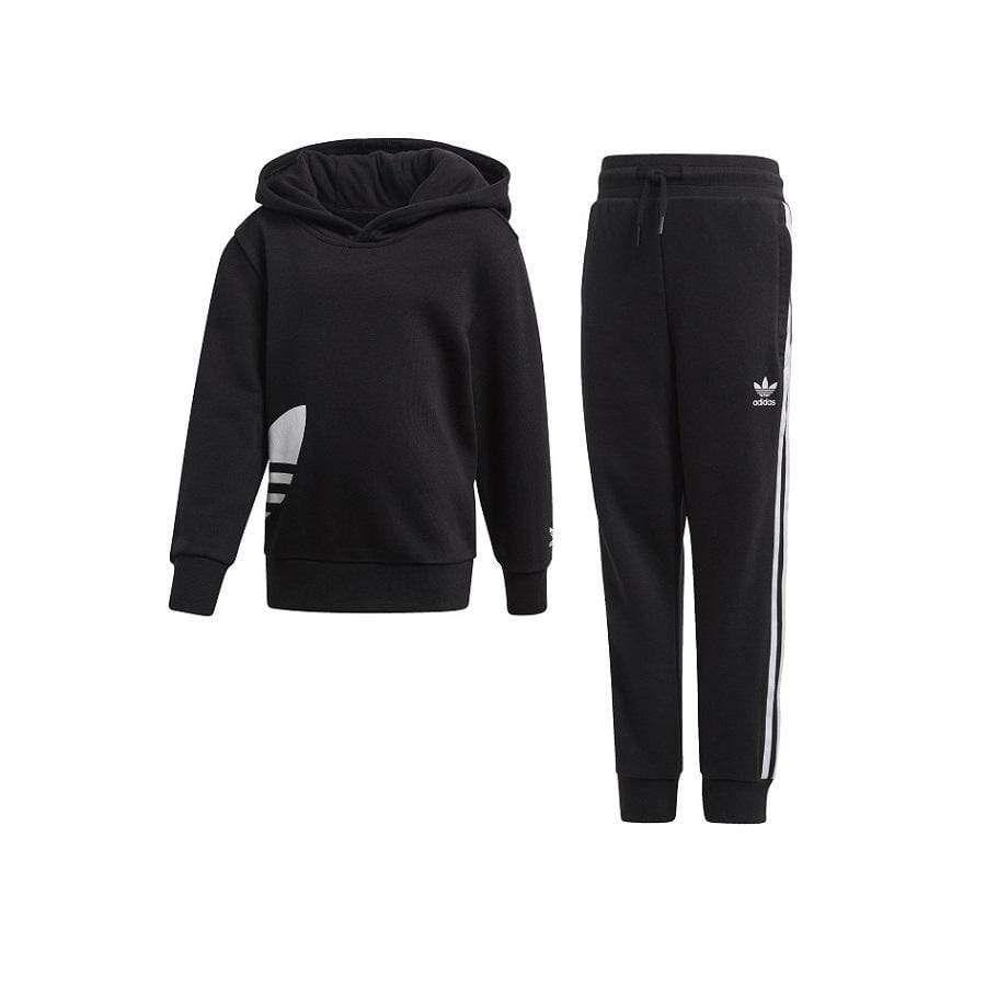 Adidas Childrens Big Trefoil Hoodie Set Black White In 2020 Hoodies Hooded Sweatshirts Adidas Outfit [ 900 x 900 Pixel ]