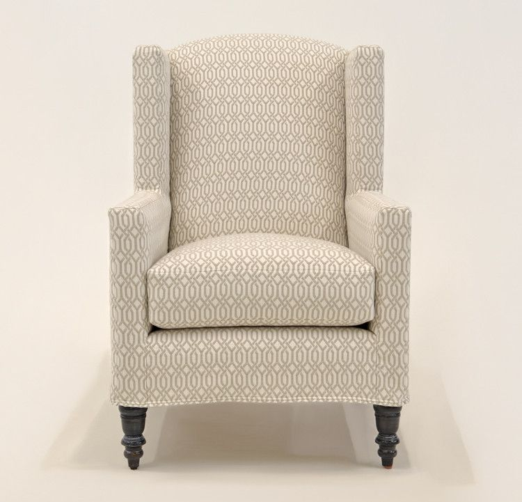 Quatrine Custom Furniture - Modern Wingback Slipcovered Chair #geometric #print #wingback #slipcovered #chair #neutral #custom