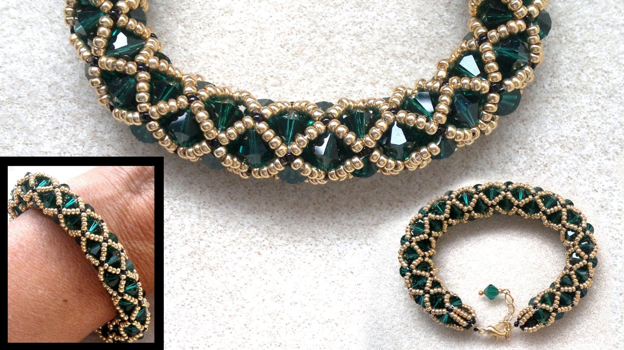 Beading4perfectionists : Netted bracelet with 6mm Swarovski and seedbead...