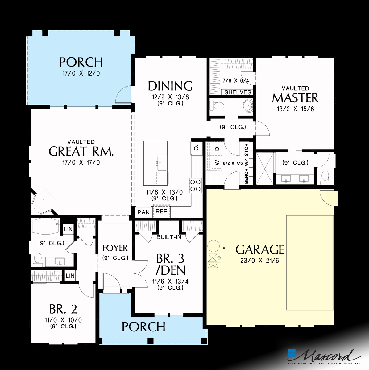 Mascord House Plan 1146k The Elm Tree Farm Main Floor Plan House Plans Floor Plans Contemporary House Plans