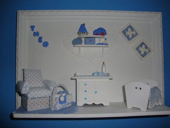 quadrinho para porta de maternidade, quartinho do bebê, materiais usados :mdf, biscuit, eva, tecido e outros, sob encomenda. móveis 1:14