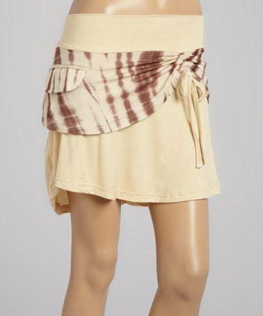 Cream Tie-Dye Overlay Miniskirt