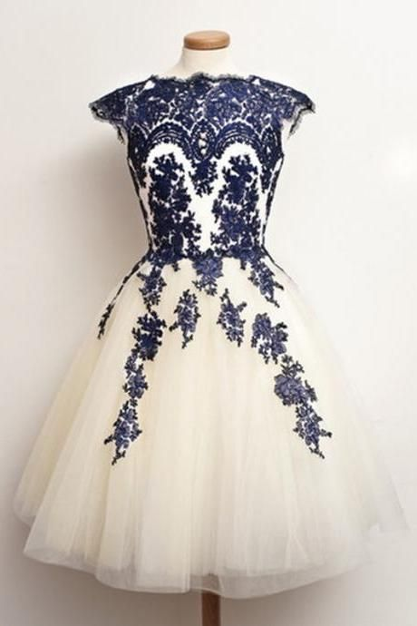 Blue and white fluffy short prom dress.   My Style   Pinterest ...