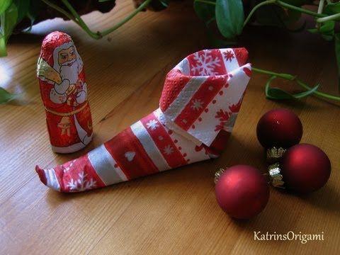 servietten falten weihnachten nikolaus nikolausstiefel youtube nikolaus pinterest. Black Bedroom Furniture Sets. Home Design Ideas