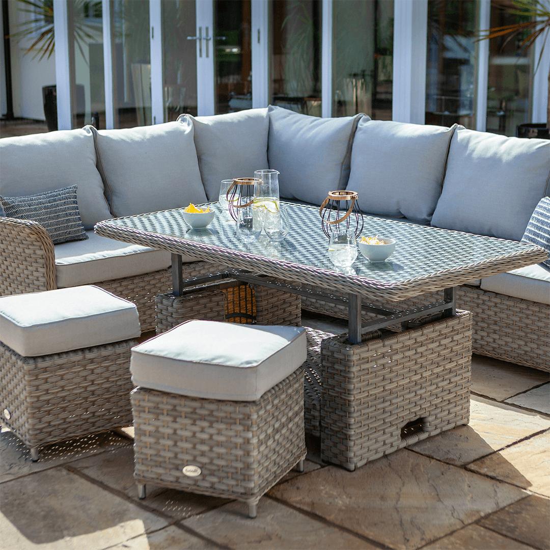Hartman Heritage Rectangular Corner Sofa Set With Adjustable Table In Beech Dove In 2020 Corner Sofa Set Corner Sofa Adjustable Table
