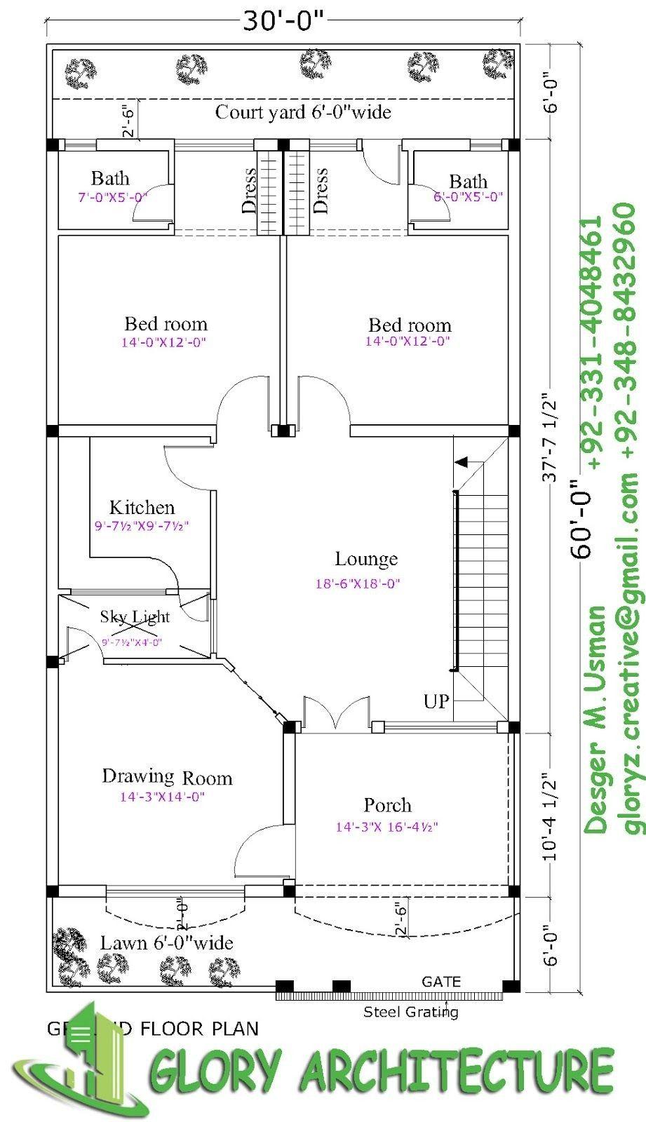 30x60 House Plan Elevation 3d View Drawings Pakistan Unusual Plans