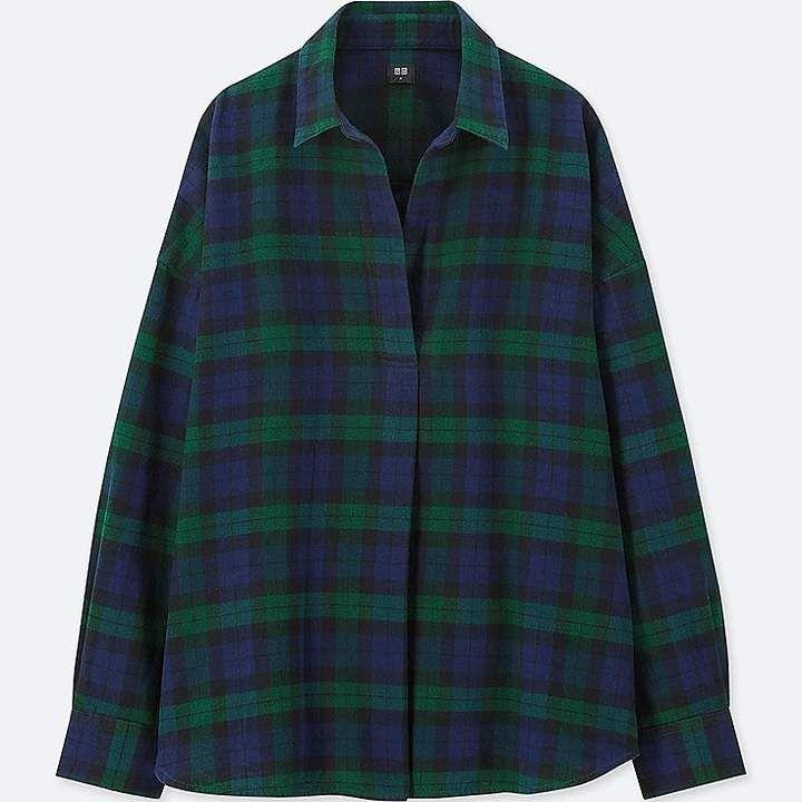 Uniqlo Women s Flannel Checked Skipper Long-sleeve Shirt Chemise Flanelle  Femme, Garde Robe Capsule 496d0db4f913
