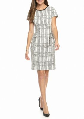 Sharagano IvoryBlack Tweed Sheath Dress