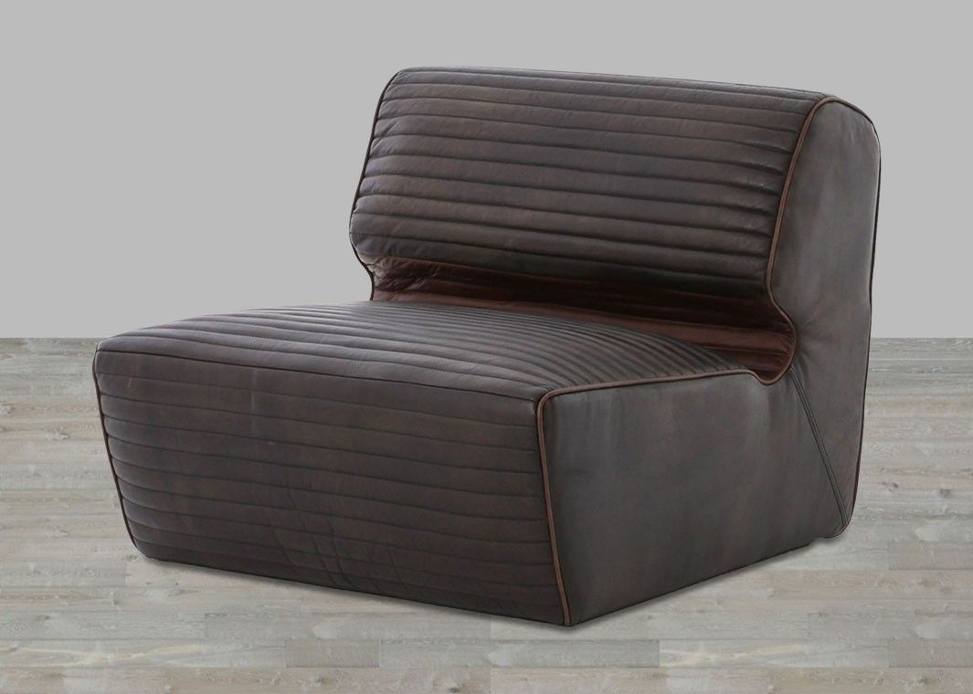 Antique Black Canyon Armless Chair Leather chair living