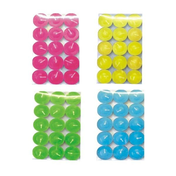 Tealight Candles - 15 Pcs Color Case Pack 72. Tealight Candles. 15 pieces assorted color candles. Comes in pvc box. Case Pack 72  Please note: If there is a color/size/type option, the option closest to the image will be shipped (Or you may receive a random color/size/type).