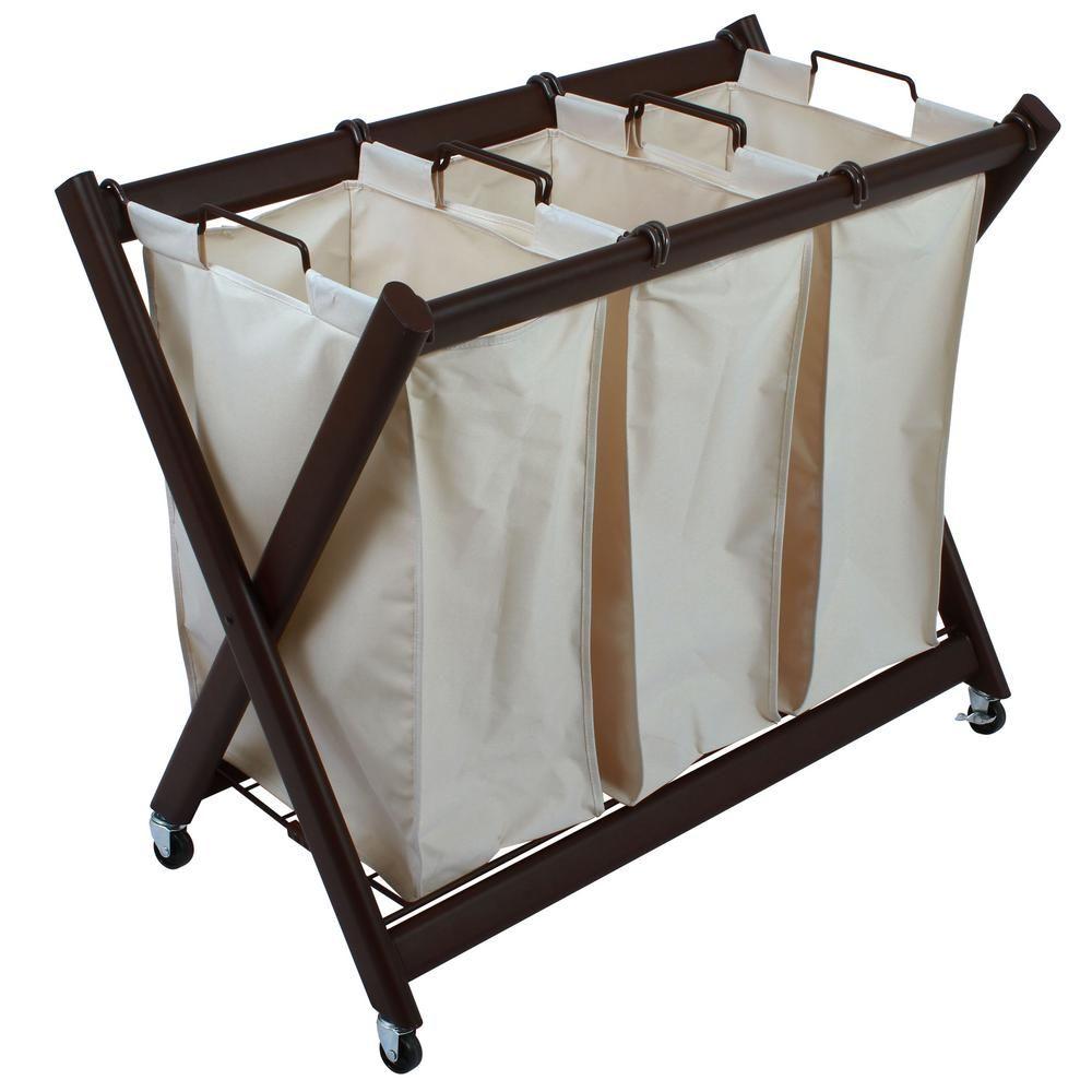 Greenway Deluxe Steel Triple Laundry Sorter Gfl7800brc Laundry