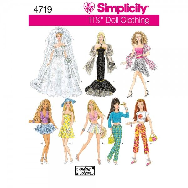 Simplicity 4719 Sewing Pattern - Doll Clothes - CraftStash | Barbie ...