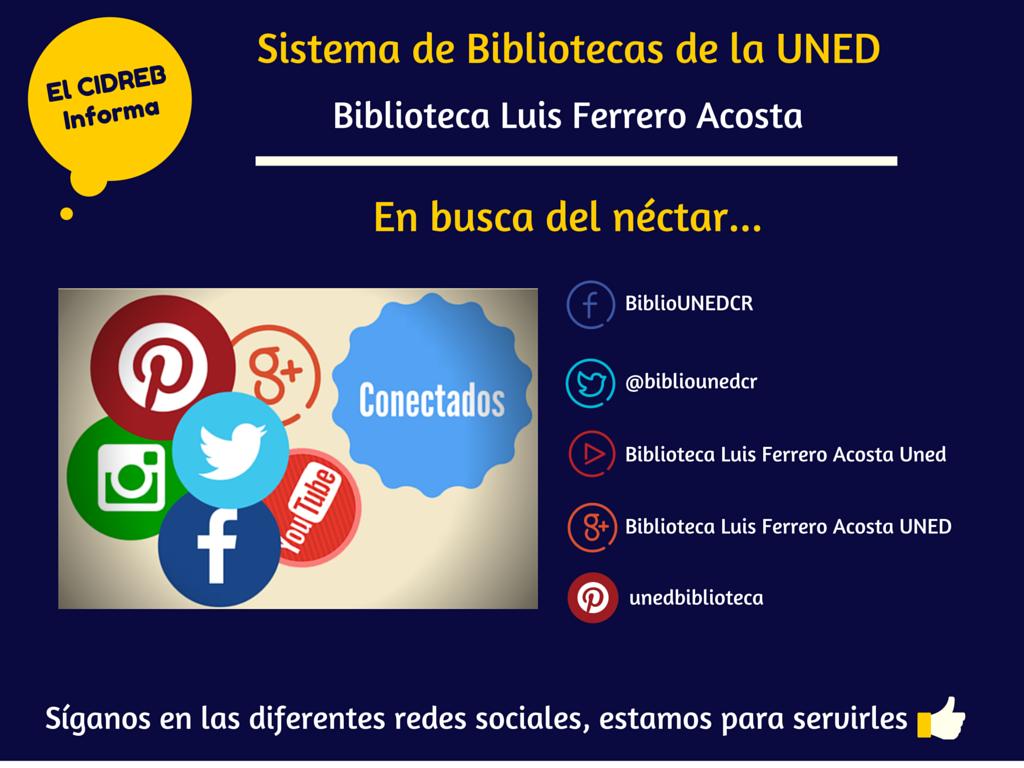 Síganos en las diferentes redes sociales de la Biblioteca! :)