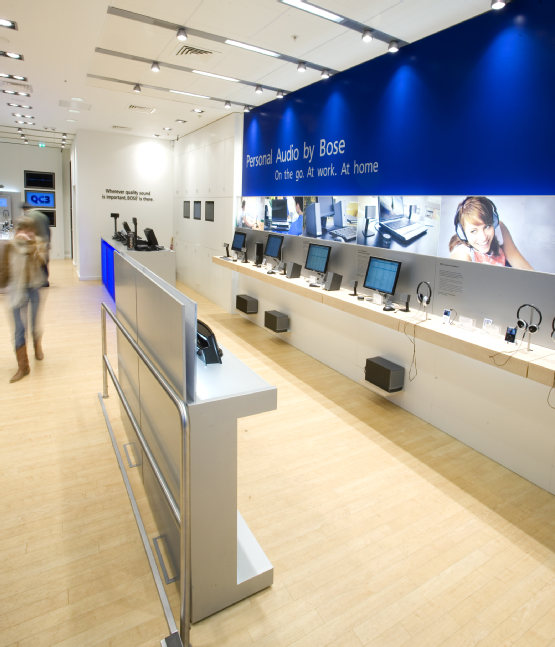 Interactive Bose Retail Store Inlay Tension Fabric Frames Electronics Retail Design Store Counter Design Retail Design