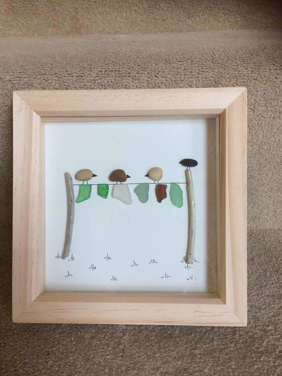Pebble and sea glass art  birds on a washing line