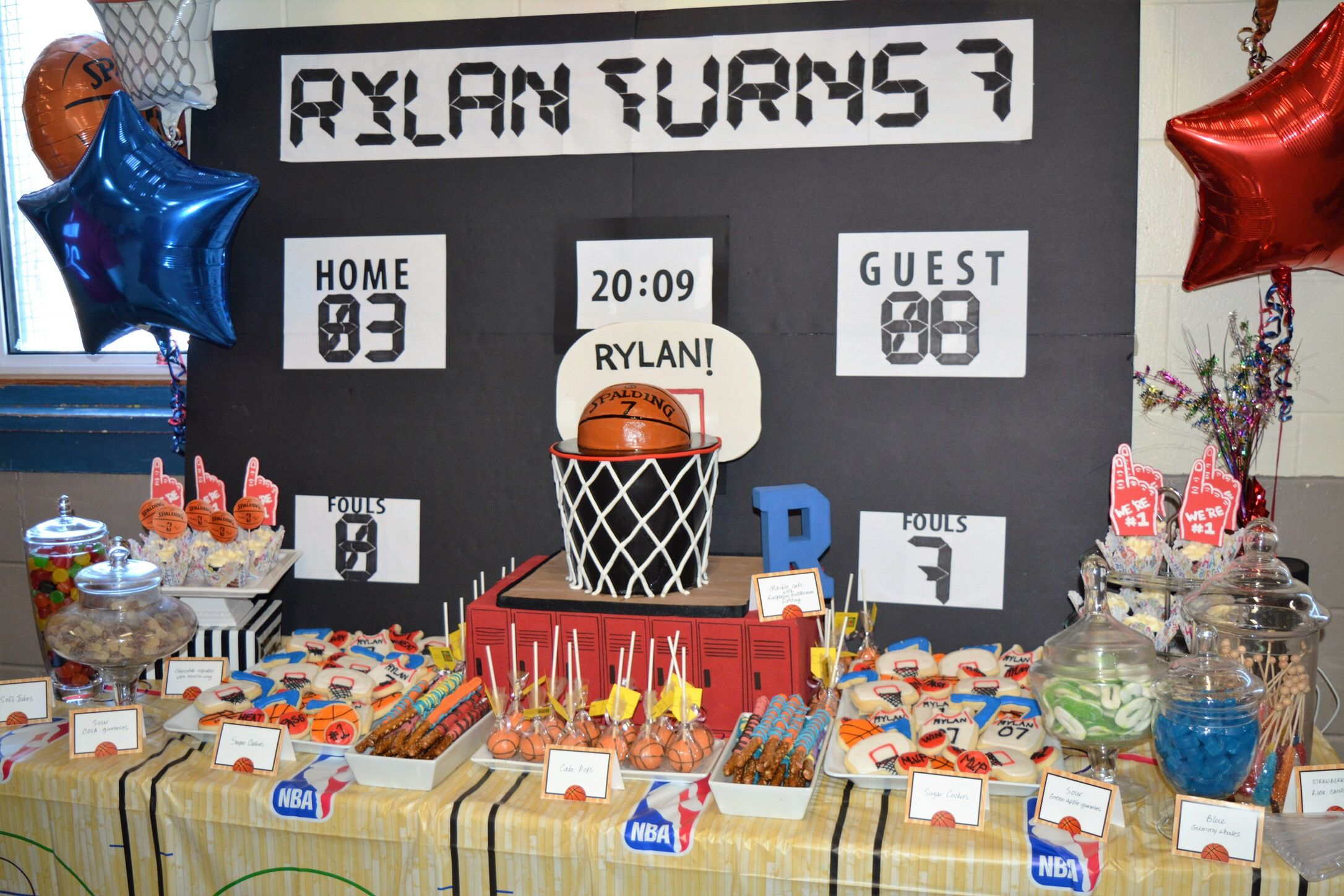 NBABasketball themed 7th Birthday party Sports Party