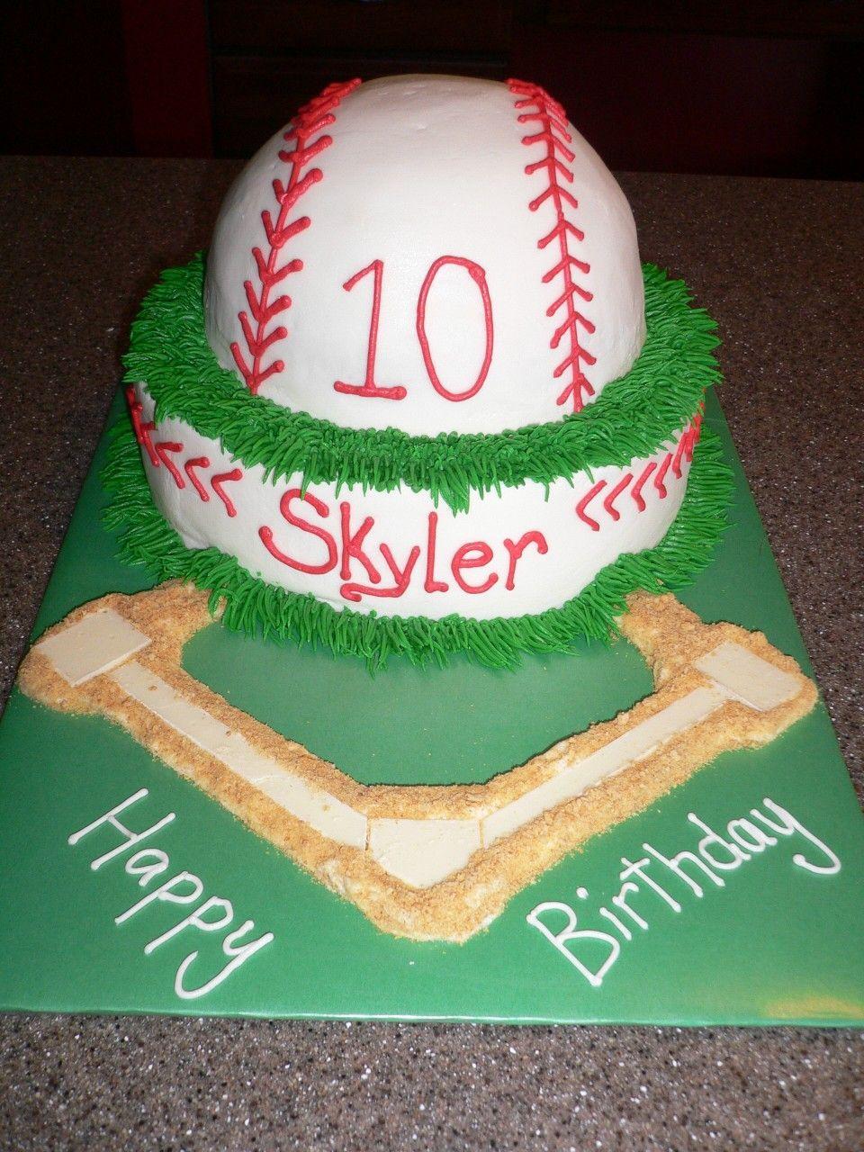 Baseball 12 wilton sports ball pan on torted 8 round Cake was