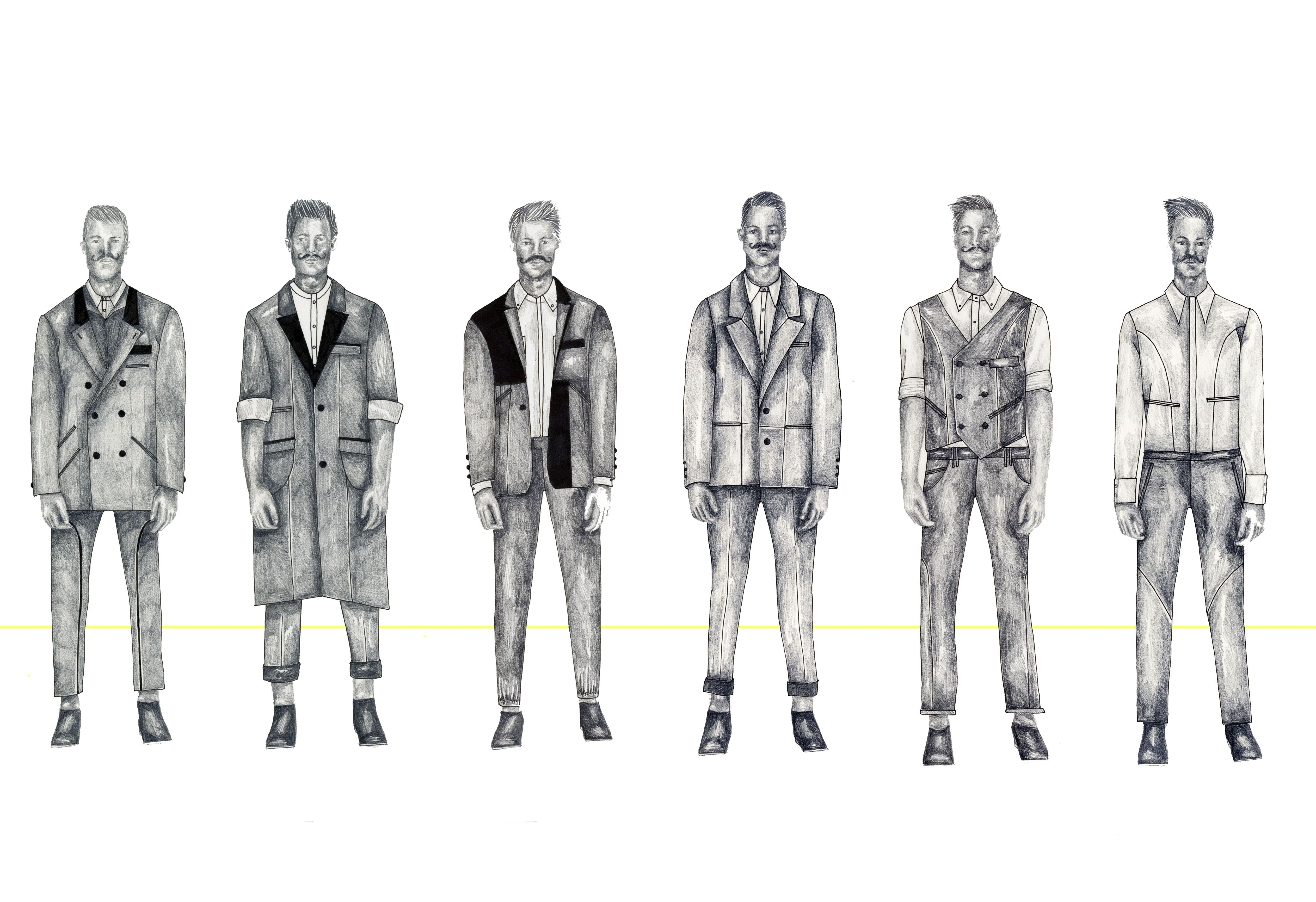 Menswear Tailoring Project Line Up Mens Fashion Illustration Fashion Illustration Sketches Shirt Sketch