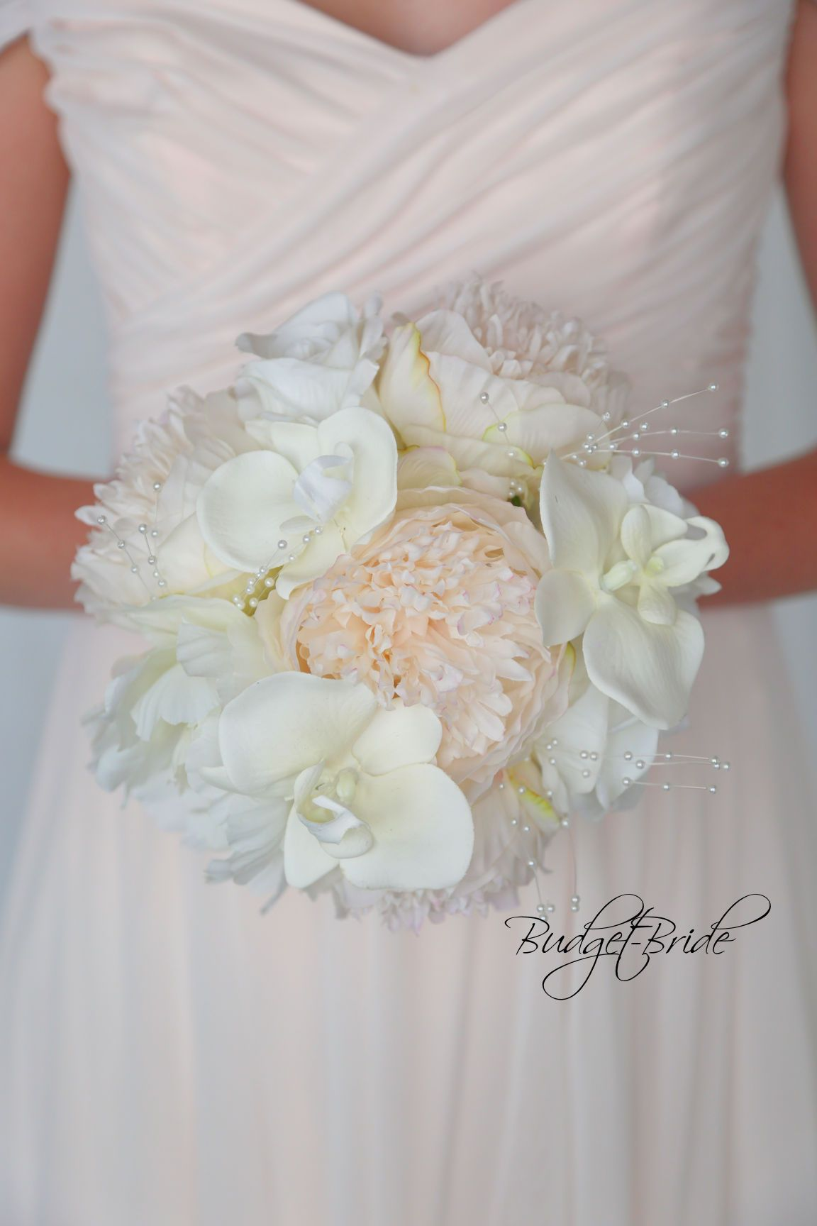 Pearl Davids Bridal Wedding Bouquet With Lilies And Orchids In Silk