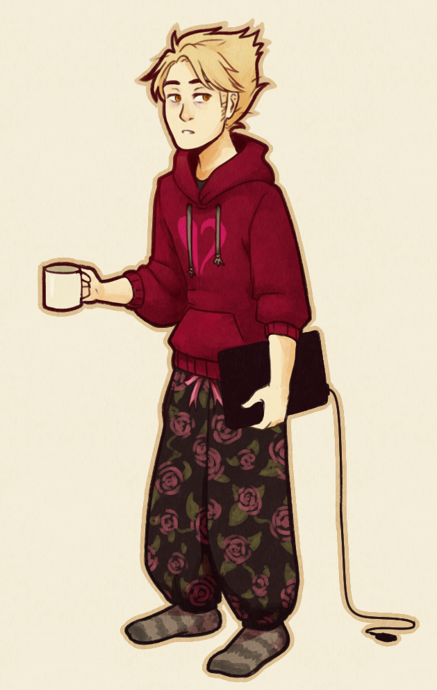"""escalusia: """" A tired anime prince ♥ - Decided to draw Dirk in one of my outfits :y """""""