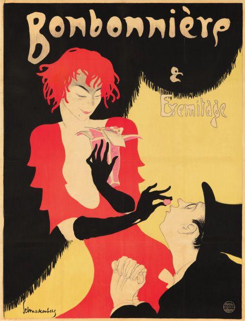 rare-posters:  Bonbonnière & Eremitage. ca. 1920. Walter Schnackenberg.  'Bonbonnière' was a cabaret show in Munich during the 1920s.