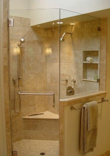 Corner Shower With Pony Wall Master Bath In 2019