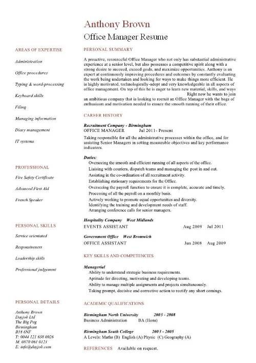 Office Manager 4-Resume Examples Office manager resume, Manager