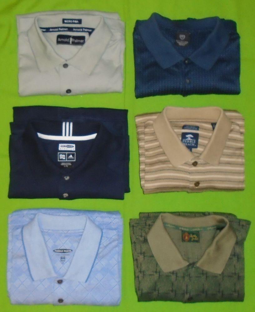 Lot 6 Nike Adidas Bobby Jones Arnold Palmer 2 Pebble Beach Golf Shirt Men Large