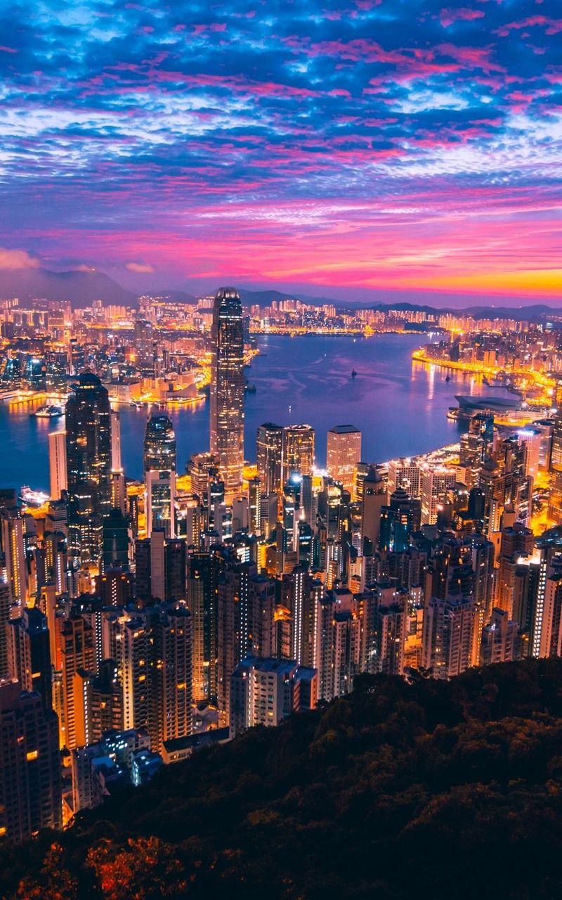 Hong Kong City View City Landscape City View Night City Lights Wallpaper