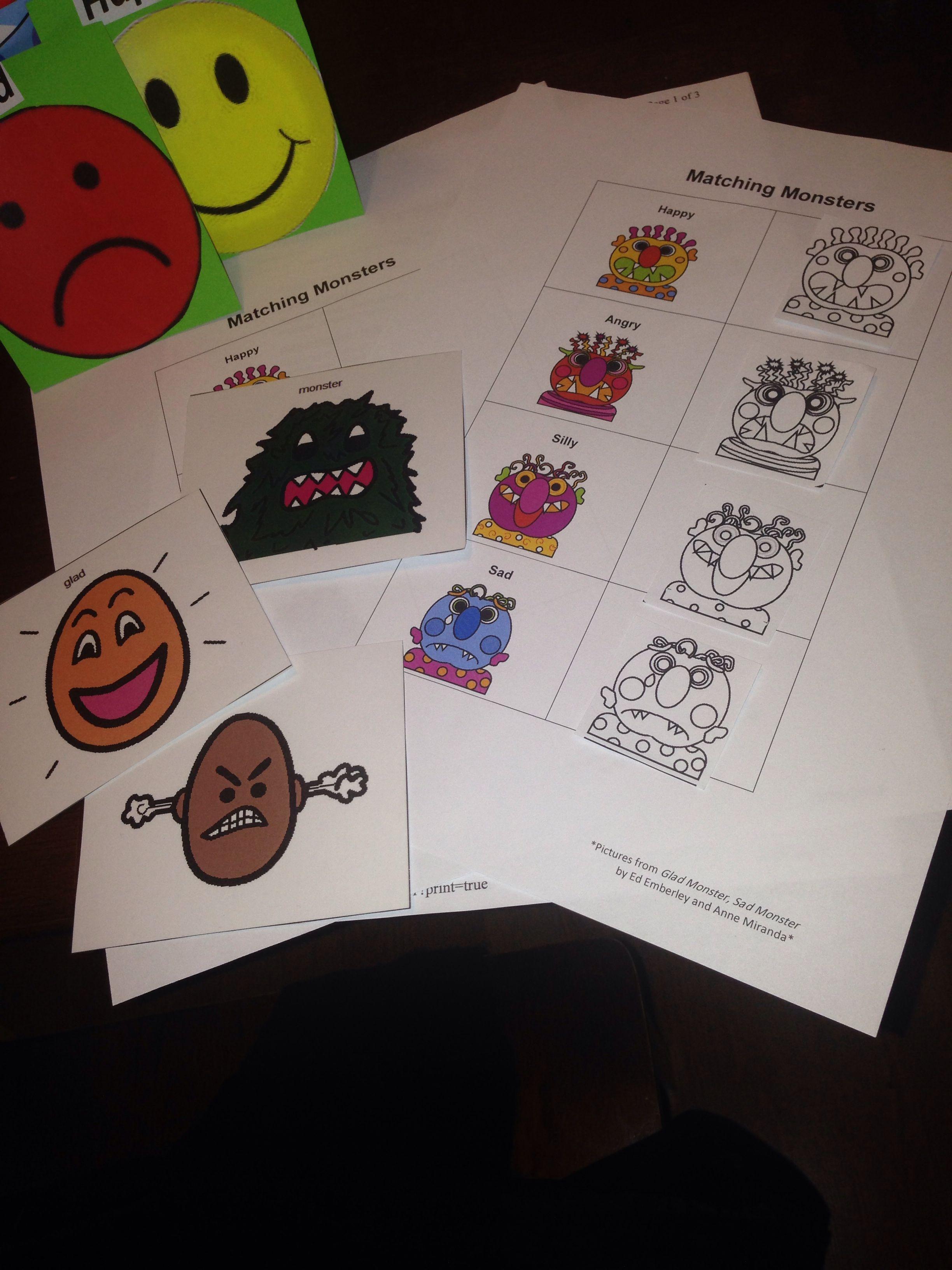 Glad Monster Sad Monster By Ed Emberley Ec3 Worksheet And