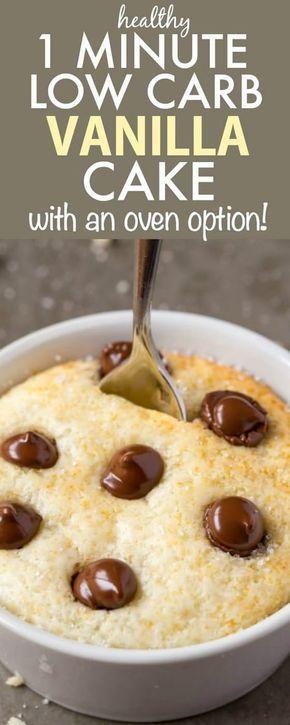 Healthy 1 Minute Low Carb Vanilla Mug Cake #proteinmugcakes