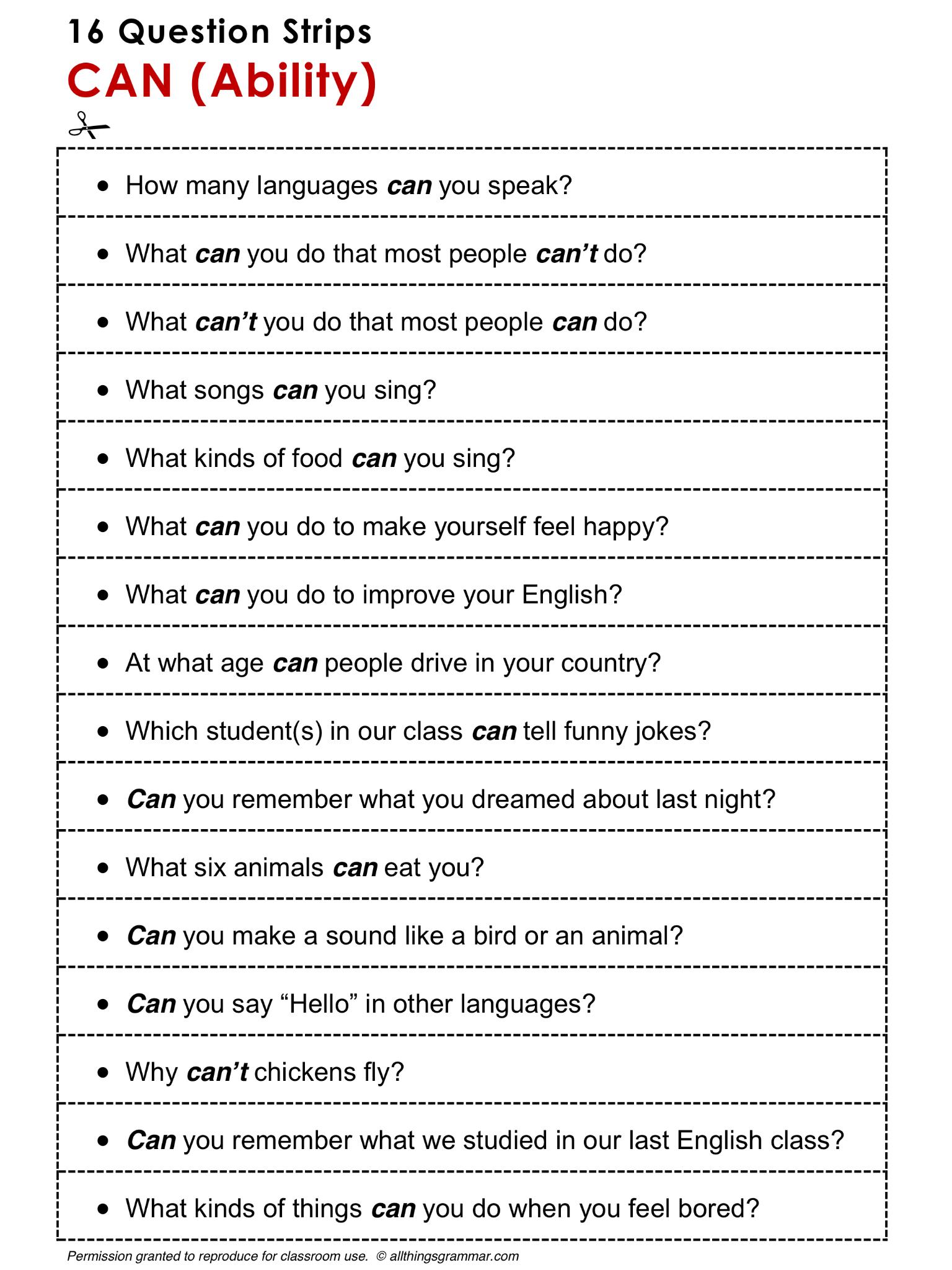 English Grammar Discussion Practice Can Ability 16 Question Strips Http Www Allthingsgram Lecciones De Gramática Educacion Ingles Ingles Para Preescolar