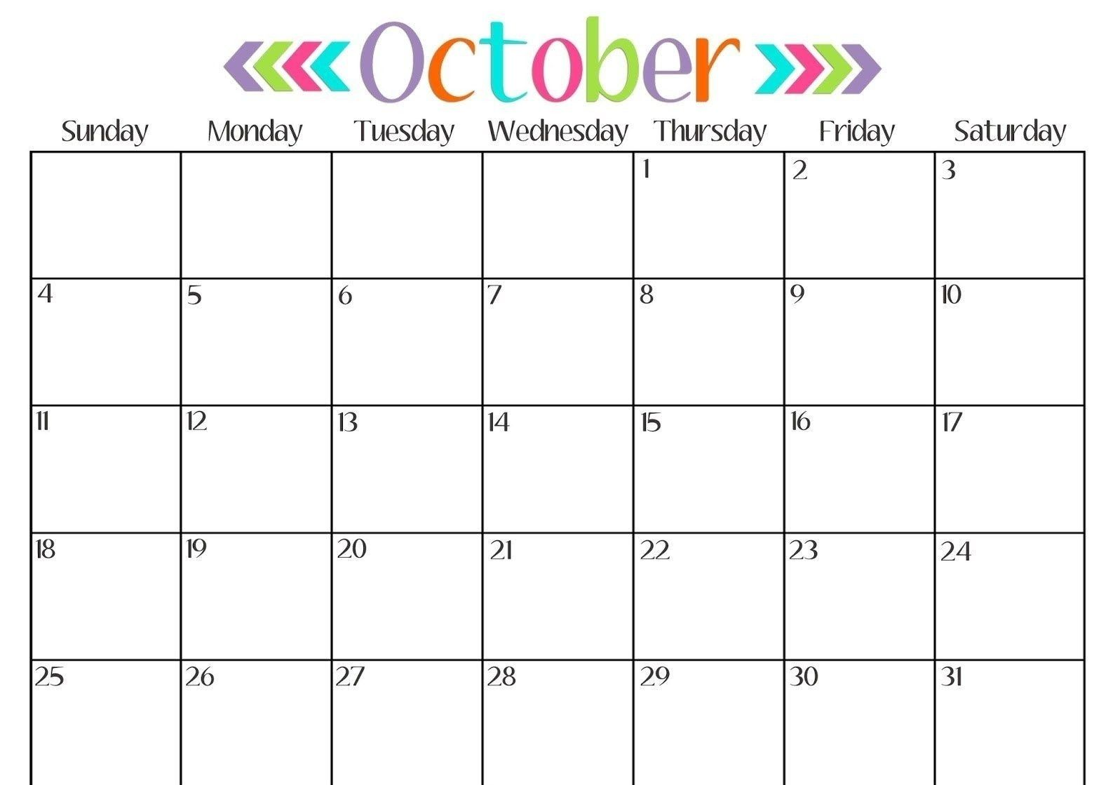 October Blank Calendar Download