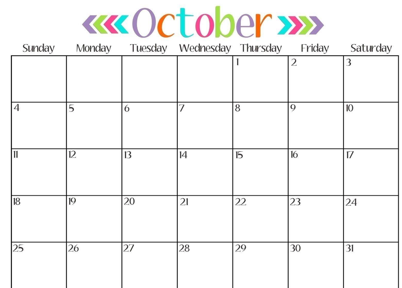 October Blank Calendar Download