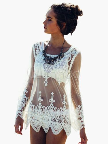 b4fcd61b29e ... Sexy Beach Swimwear For Women. White Lace Sheer Scoop Neck Long Sleeves  Cover Up