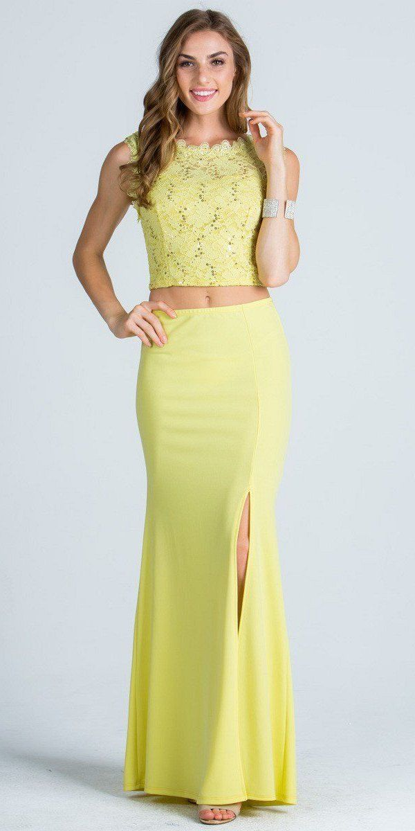 f94e60d6aff3 Yellow Sleeveless Crop Top Long Two-Piece Prom Dress with Slit ...