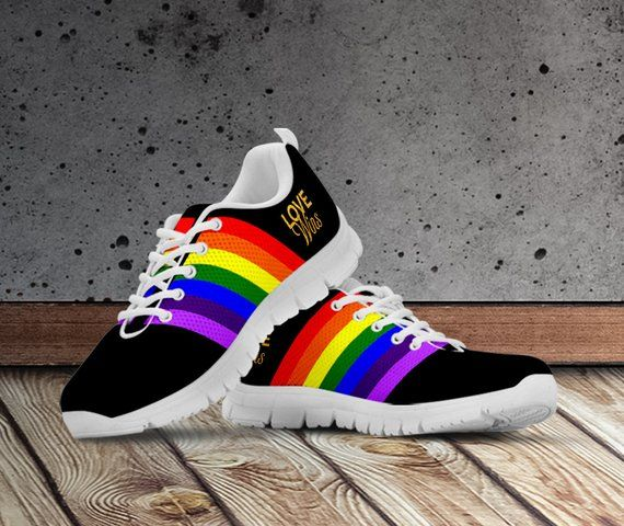 a6aa2e0b4d346 LGBT Rainbow Shoes/Sneakers/Trainers For Ladies, Mens and Kids Sizes ...