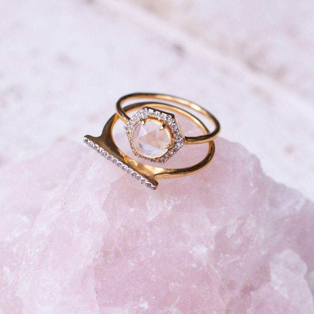 Moonstone u diamond hexagon ring moonstones diamond and ring