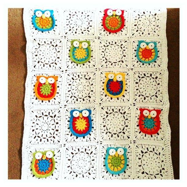 Crochet Owl Blanket | Ganchillo mantas, Owl y Manta