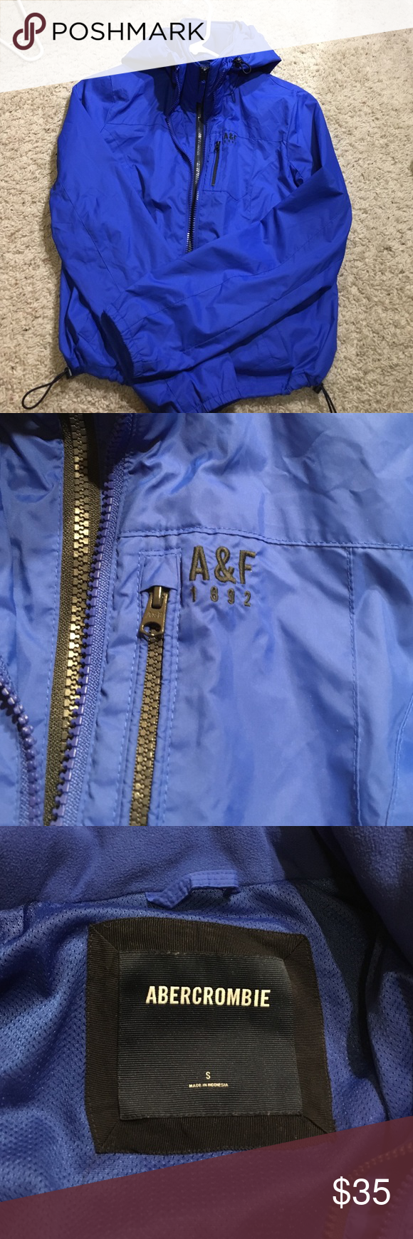 A&F Thick Windbreaker Thick, two zippers, a couple dirt stains nothing too noticeable but can be washed out. Abercrombie & Fitch Jackets & Coats
